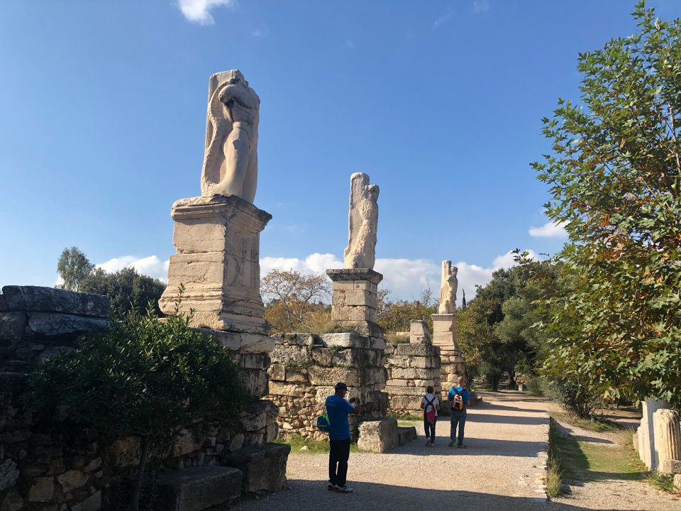 Statues at the Entrance of Ancient Agora