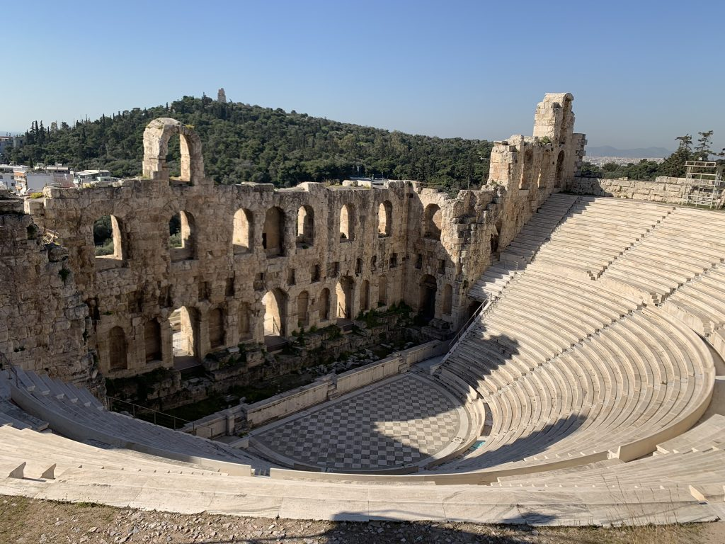 The view of Odeon of Herodes Atticus from Acropolis