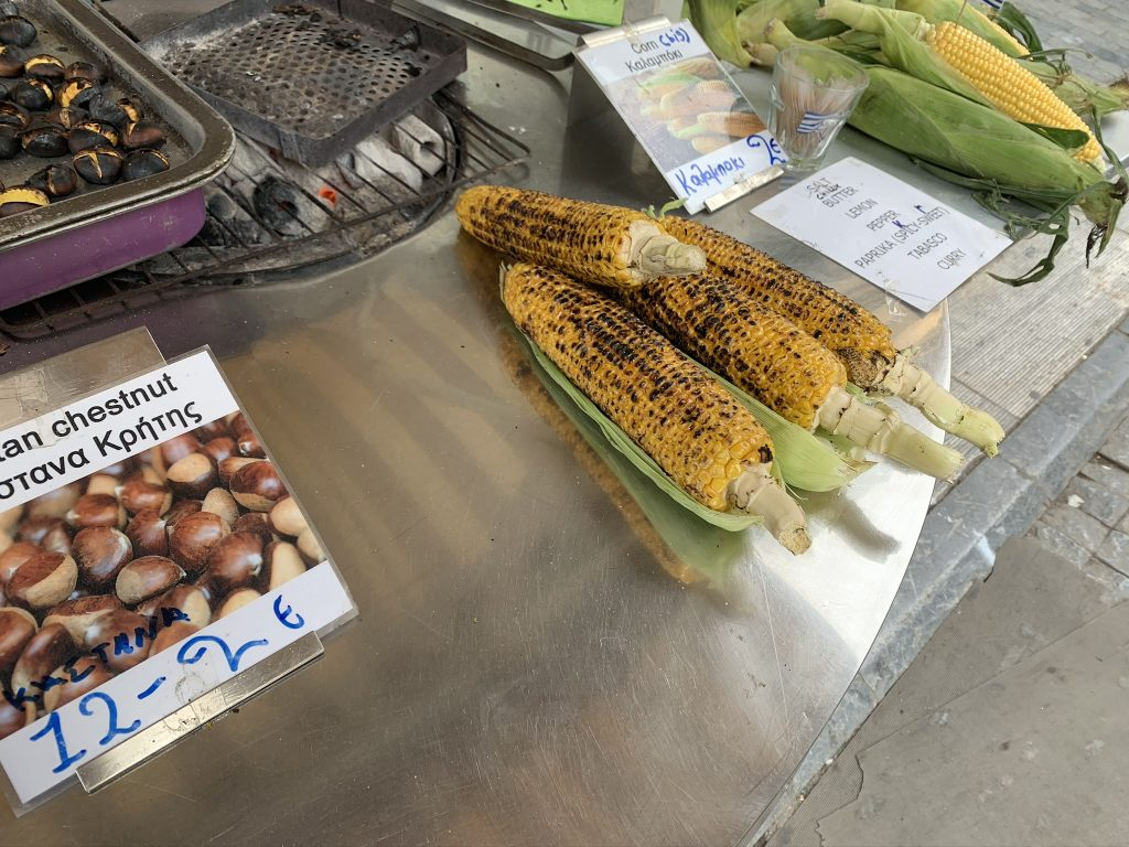 Grilled Corn and chestnuts, Athens street food