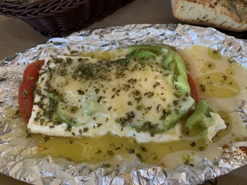 Grilled feta cheese
