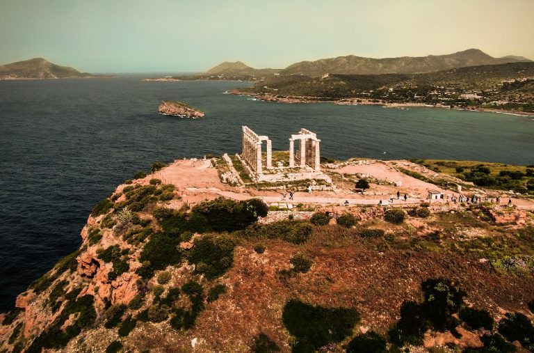 The Temple of Poseidon At Sounion from above