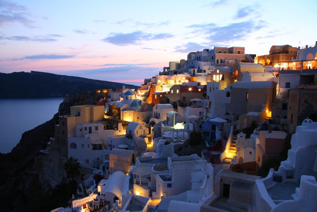 Santorini night view, Private Tour Athens